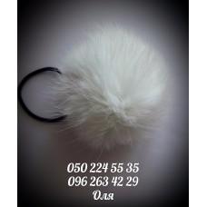 Помпон из меха кролика цвет белый, артикул 101