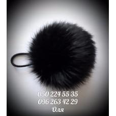 Помпон из меха кролика цвет чёрный, артикул 102