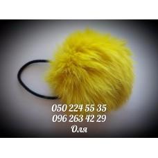 Помпон из меха кролика цвет жёлтый, артикул 103