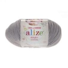 Пряжа Alize Baby Wool серый 52