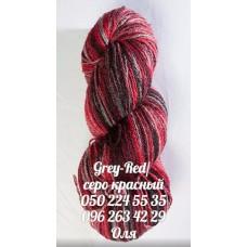 Пряжа Artistic (Артистик), цвет серо-красный, артикул 004