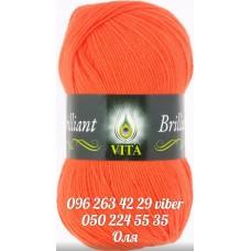 Пряжа Vita Brilliant (Бриллиант), цвет ярко-оранжевый, артикул 5104
