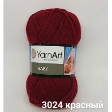 Пряжа классическая детская Baby YarnArt, цвет красный, артикул 3024